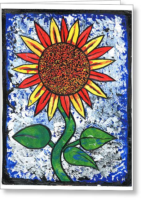 Treatment Mixed Media Greeting Cards - Sunflower  Greeting Card by Josh Brown