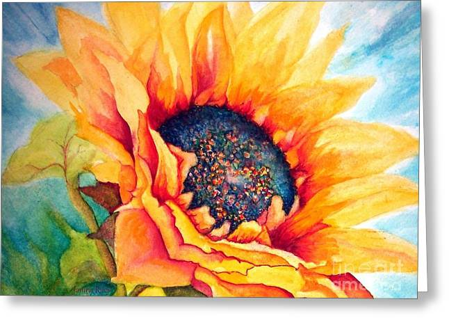 Glowing Greeting Cards - Sunflower Joy Greeting Card by Janine Riley