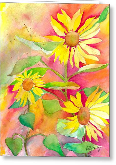 Abstracted Coneflowers Greeting Cards - Sunflower Greeting Card by Kelly Perez