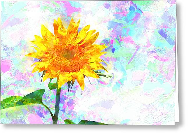 Bob Orsillo Mixed Media Greeting Cards - Sunflower Magic Greeting Card by Bob Orsillo