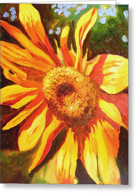 Photorealistic Paintings Greeting Cards - Sunflower of Al Di La Greeting Card by Susi Franco