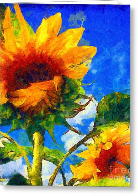 Sunflower Joy Greeting Cards - Sunflower - Oh Ive said too much Greeting Card by Janine Riley