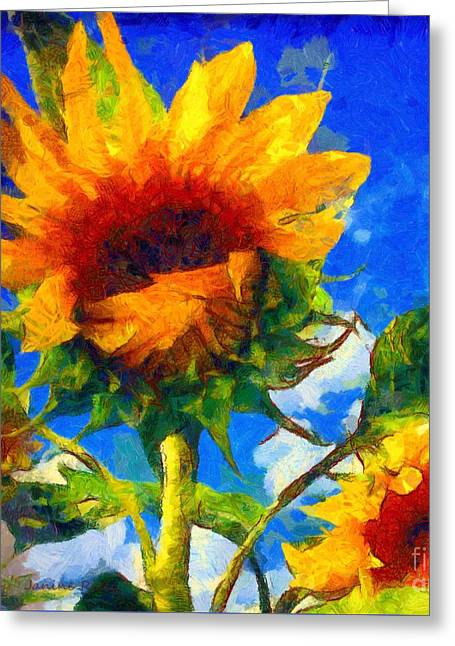 Girasol Greeting Cards - Sunflower - Oh Ive said too much Greeting Card by Janine Riley