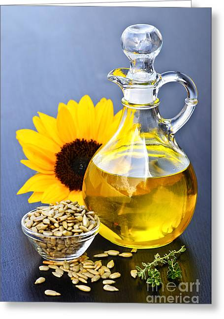 Decanter Greeting Cards - Sunflower oil bottle Greeting Card by Elena Elisseeva