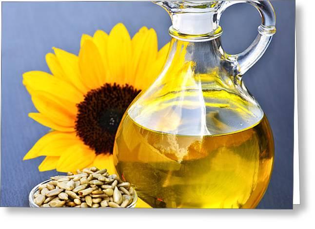 Sunflower oil bottle Greeting Card by Elena Elisseeva