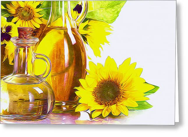 Cruet Greeting Cards - Sunflower oil Greeting Card by Lanjee Chee