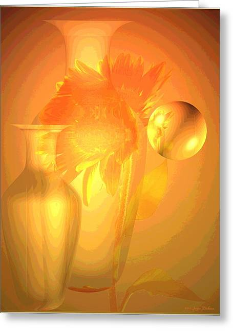 Numbers Plus Photography Greeting Cards - Sunflower Orange With Vases Posterized Greeting Card by Joyce Dickens