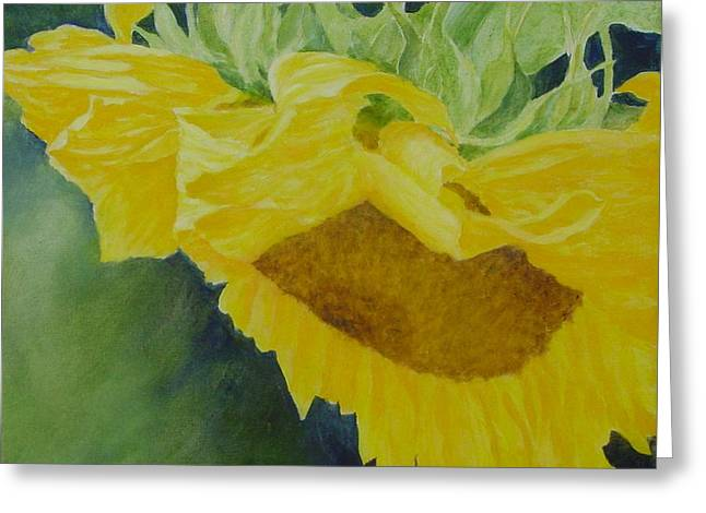 K Joann Russell Greeting Cards - Sunflower Original Oil Painting Colorful Bright Sunflowers Art Floral Artist K. Joann Russell  Greeting Card by K Joann Russell