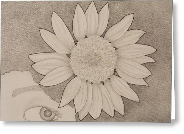 Sunflower Peeping Eye Greeting Card by Aaron El-Amin