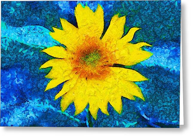 Abstract Sunflower Greeting Cards - Sunflower Pop Abstract Greeting Card by Dan Sproul