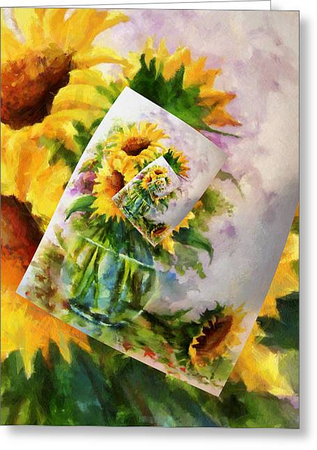 Technical Digital Art Greeting Cards - Sunflower Print On Print On Print Greeting Card by Georgiana Romanovna