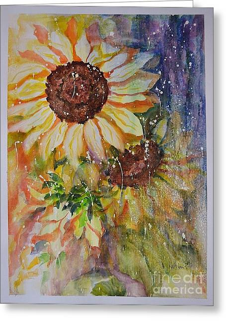 Petals Ceramics Greeting Cards - Sunflower Rain Greeting Card by Kathleen Pio