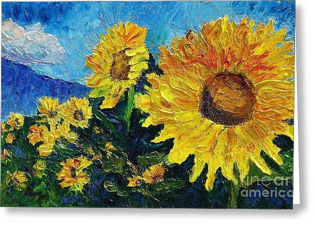 Pallet Knife Greeting Cards - Sunflower Riot Greeting Card by Linda Mooney