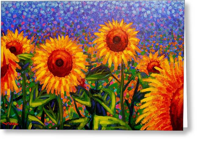Wine Bottle Prints Greeting Cards - SunFlower Scape Greeting Card by John  Nolan