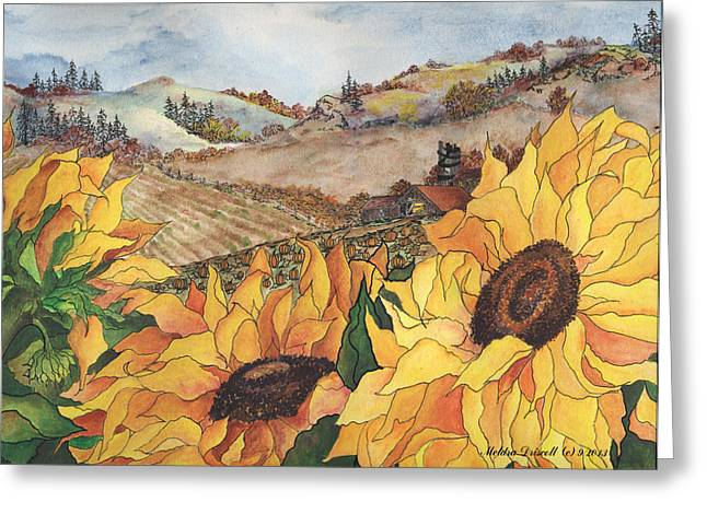 Barn Pen And Ink Greeting Cards - Sunflower Serenity Greeting Card by Meldra Driscoll