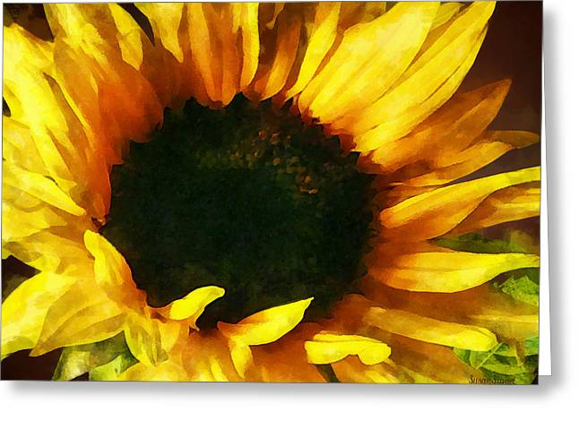 Sunflowers Greeting Cards - Sunflower Shadow and Light Greeting Card by Susan Savad