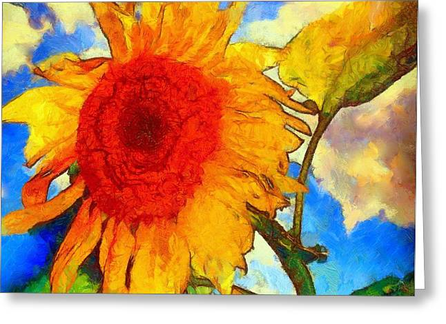 Girasol Greeting Cards - Sunflower Shine Greeting Card by Janine Riley
