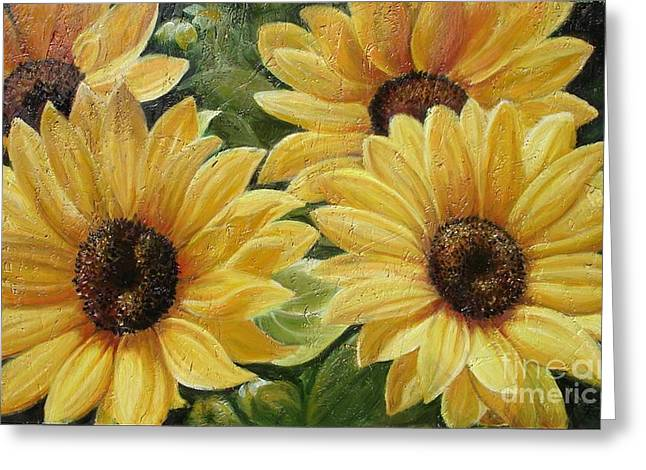 Nature Scene Paintings Greeting Cards - Sunflower Greeting Card by Sorin Apostolescu