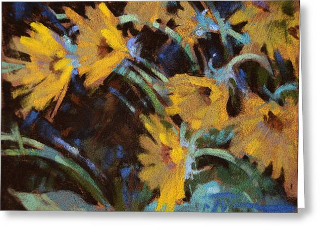 Roots Pastels Greeting Cards - Sunflower Sundown Greeting Card by Jennifer Evenhus