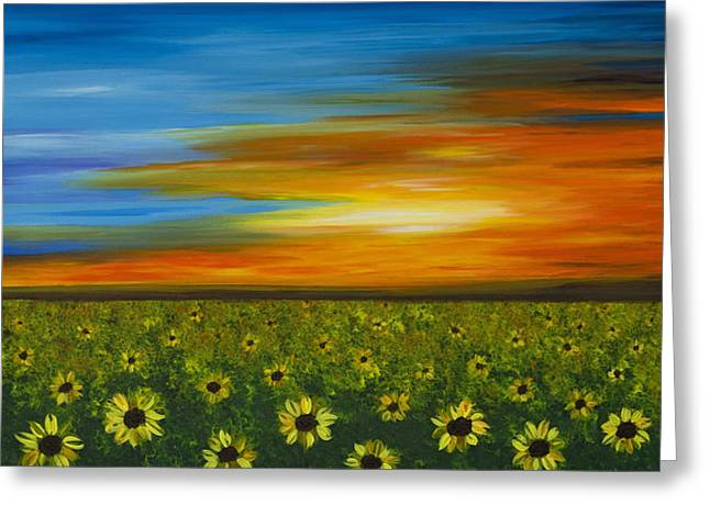 Sunflower Patch Greeting Cards - Sunflower Sunset - Flower Art By Sharon Cummings Greeting Card by Sharon Cummings