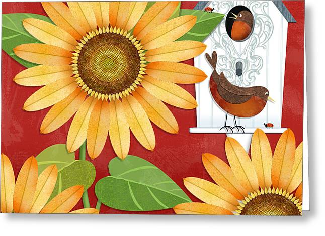 Garden Scene Mixed Media Greeting Cards - Sunflower Surprise Greeting Card by Valerie   Drake Lesiak