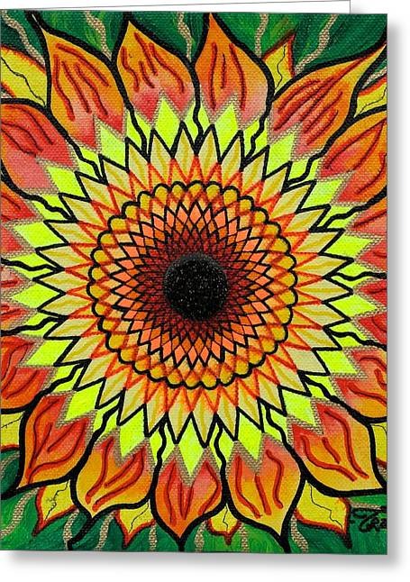 Frequency Shirts Greeting Cards - Sunflower Greeting Card by Teal Swan
