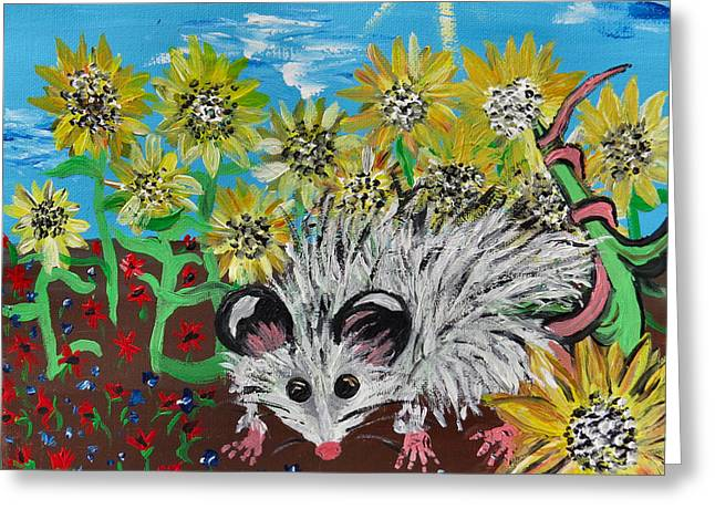 Michelle Greeting Cards - Sunflower Thief Greeting Card by Michelle Milano
