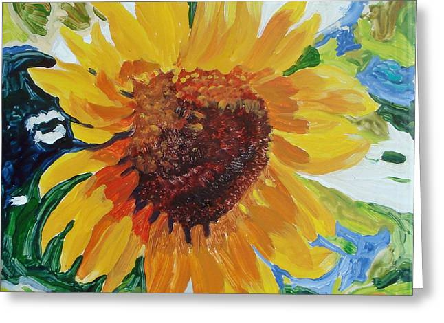 Nature Ceramics Greeting Cards - Sunflower Tile  Greeting Card by Susan Duda