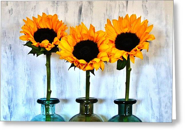 Olive Green Greeting Cards - Sunflower Trio Greeting Card by Marsha Heiken
