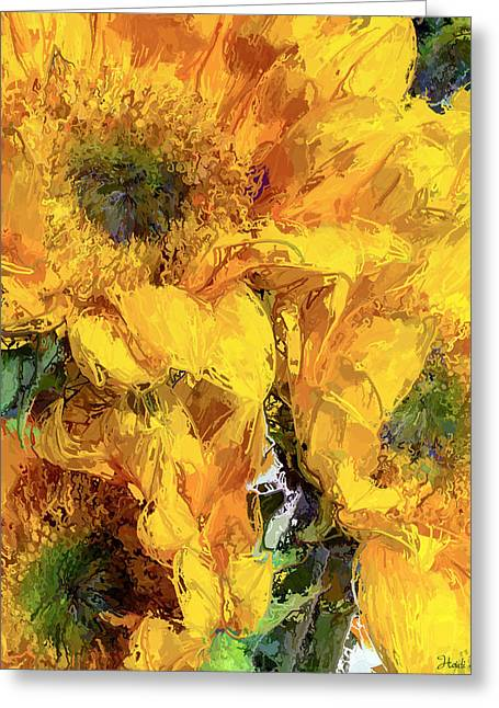 Lively Floral Design Greeting Cards - Sunflower Trio Painterly Greeting Card by Heidi Smith