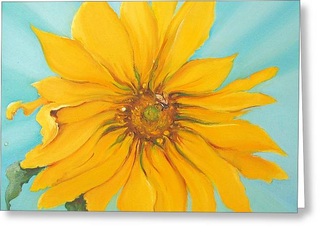 Sun Rays Paintings Greeting Cards - Sunflower with Bee Greeting Card by Bettina Star-Rose