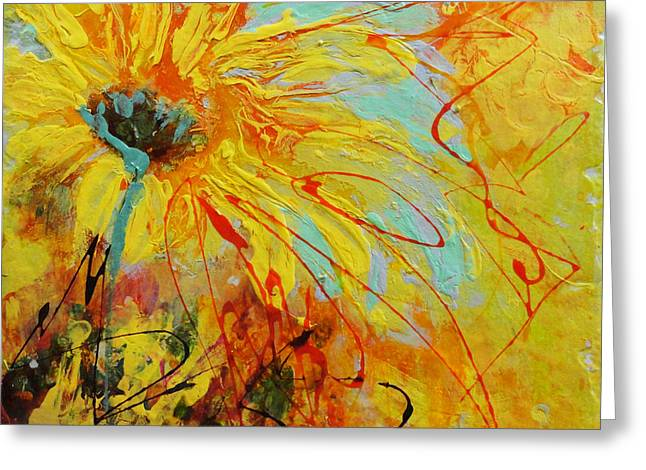 Acrylic Ceramics Greeting Cards - Sunflowers 1 Greeting Card by Madigan Lang