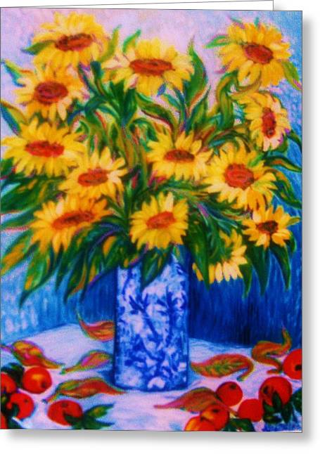 Yellow Sunflower Sculptures Greeting Cards - SUNFLOWERS  2   Art Deco Greeting Card by Gunter  Hortz