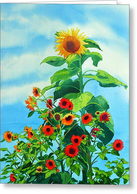 Sun Flower Greeting Cards - Sunflowers 2014 Greeting Card by Mary Helmreich