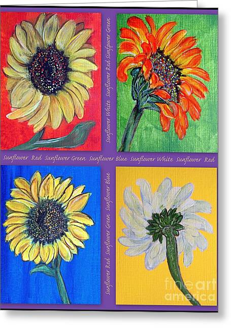 Flower Still Life Prints Greeting Cards - Sunflowers 4 U Greeting Card by Ella Kaye Dickey