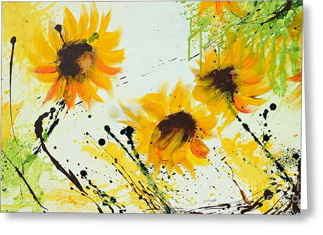 Sunflowers - Abstract painting Greeting Card by Ismeta Gruenwald