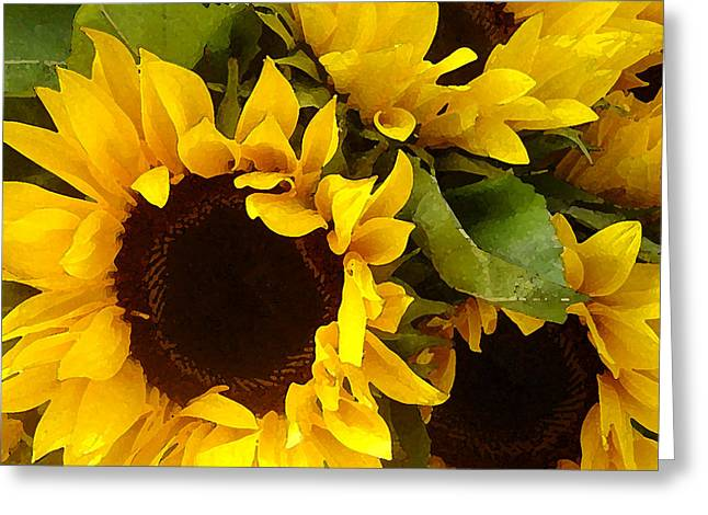 Green Artworks Greeting Cards - Sunflowers Greeting Card by Amy Vangsgard