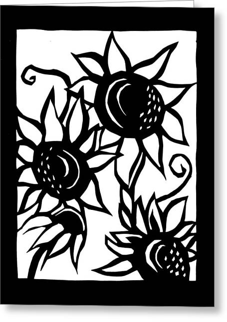Country Cottage Drawings Greeting Cards - Sunflowers and Black Eyed Susan Greeting Card by Julia Linsteadt