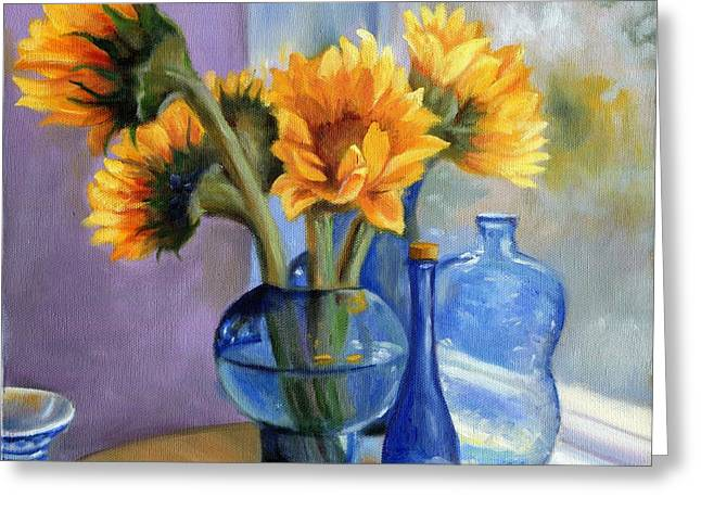 Still Life By Window Greeting Cards - Sunflowers and Blue Bottles Greeting Card by Marlene Book