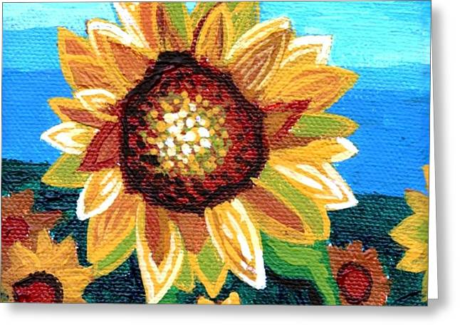 Plant Stretched Canvas Greeting Cards - Sunflowers and Blue Sky Greeting Card by Genevieve Esson
