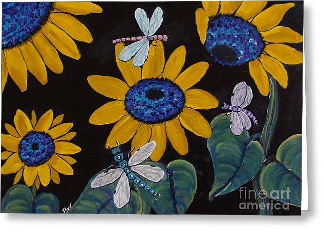 Sunflowers And Dragonflys-painting Greeting Card by Beverly Livingstone