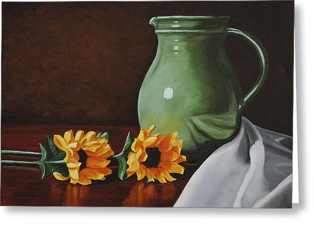 Ewer Paintings Greeting Cards - Sunflowers and Green Water Jug Greeting Card by Daniel Kansky