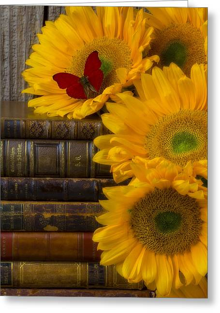Shadows Greeting Cards - Sunflowers and old books Greeting Card by Garry Gay