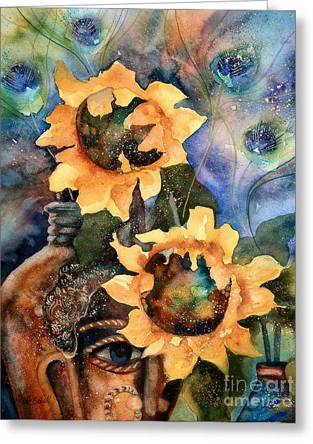 Zoology Paintings Greeting Cards - Sunflowers and Peacock Feathers Greeting Card by Kate Bedell