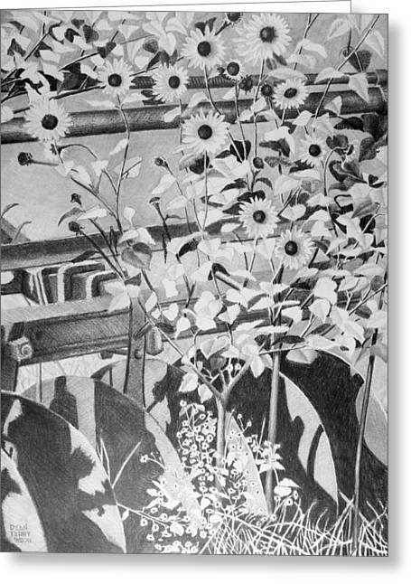 Lanscape Drawings Greeting Cards - Sunflowers and Plow Greeting Card by Dean Terry