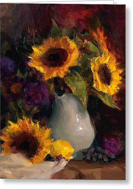 Lemon Art Greeting Cards - Sunflowers and Porcelain Still Life Greeting Card by Karen Whitworth