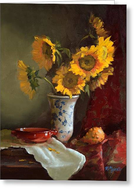 Recently Sold -  - White Cloth Greeting Cards - Sunflowers and Red Saucer Greeting Card by Viktoria K Majestic