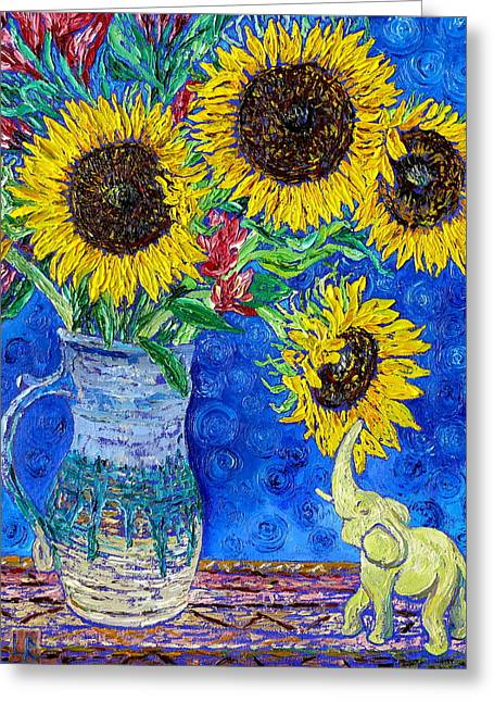 Stoneware Paintings Greeting Cards - Sunflowers and White Elephant Greeting Card by Linda J Bean