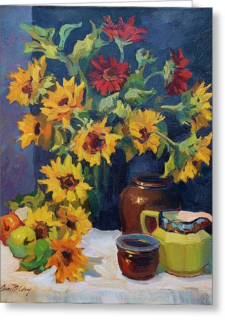 Pitcher Greeting Cards - Sunflowers and Yellow Pitcher Greeting Card by Diane McClary