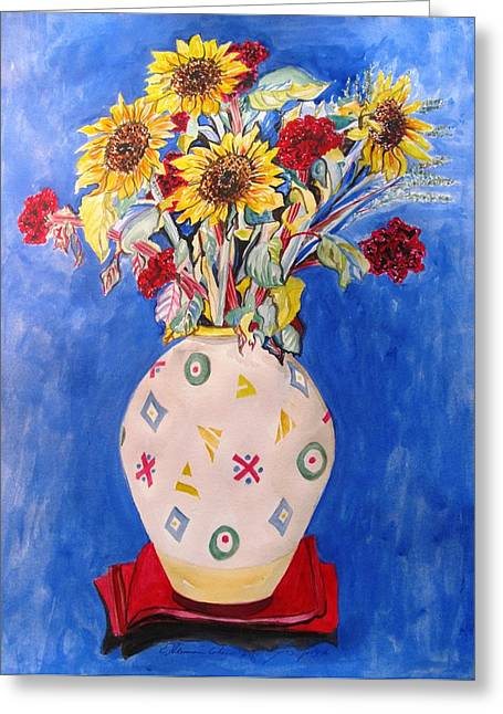 Flower Still Life Prints Greeting Cards - Sunflowers at Home Greeting Card by Esther Newman-Cohen